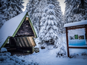Hütte mit Infotafel