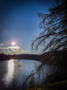Tiefstehende Sonne am Fjord