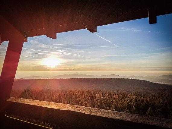 Auf dem Aussichtsturm auf der Platte im Steinwald