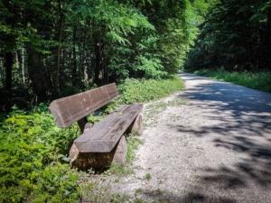 Sitzbank am linken Wegrand