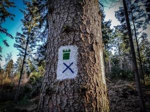 Wegweiser Grüner Turm blaues Kreuz