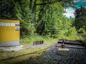 Interessanter Infopunkt mit Bahngleis-Profilen