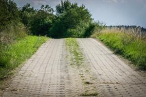 Auf gepflastertem Fahrweg