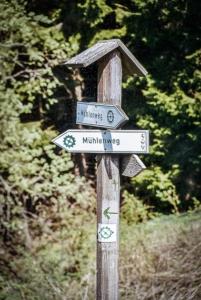 Wegweiser mit Mühlrad Mühlenweg