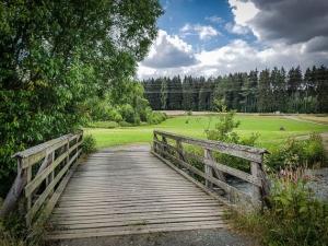 Holzbrücke über die Sächsische Saale