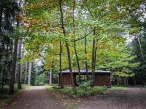 Hölzernes Info-Häuschen im Wald