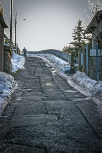 Die steile Tierbergstraße hinauf