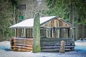 Lauscha Blockhütte am großen Grenzstein