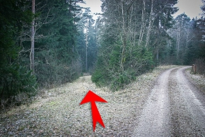 Weg zweigt nach links unten ab