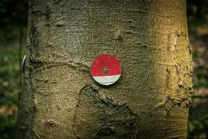 Runde rot-weiße Plakette
