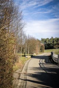 Schmale Straße mit Hecke